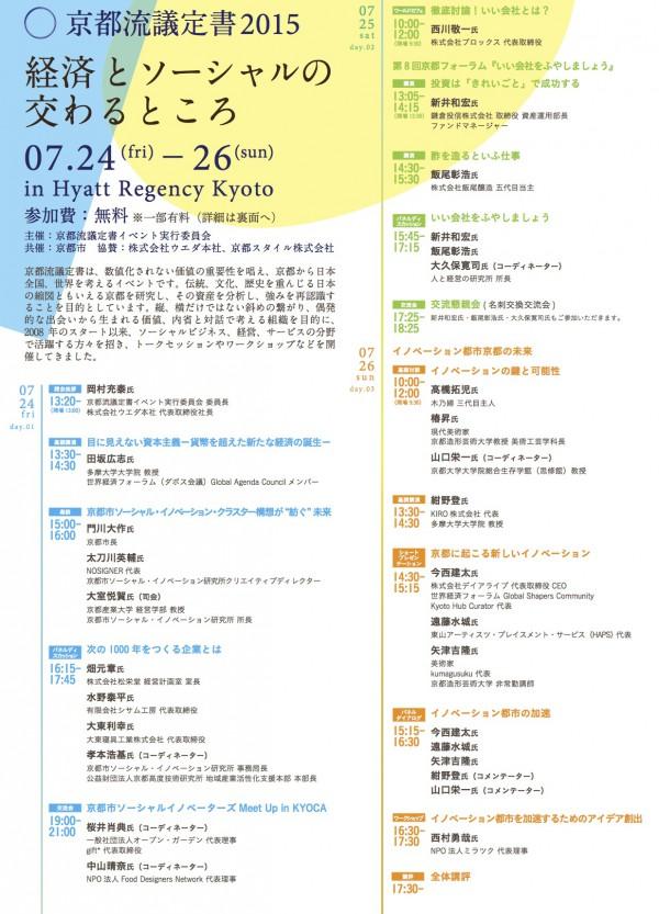 京都流議定書2015開催。1日目、24日(金)を当研究所にて企画させていただきました!