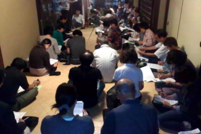 京町家を会場にした勉強会。町家の理解を深めるための取り組みを進めている