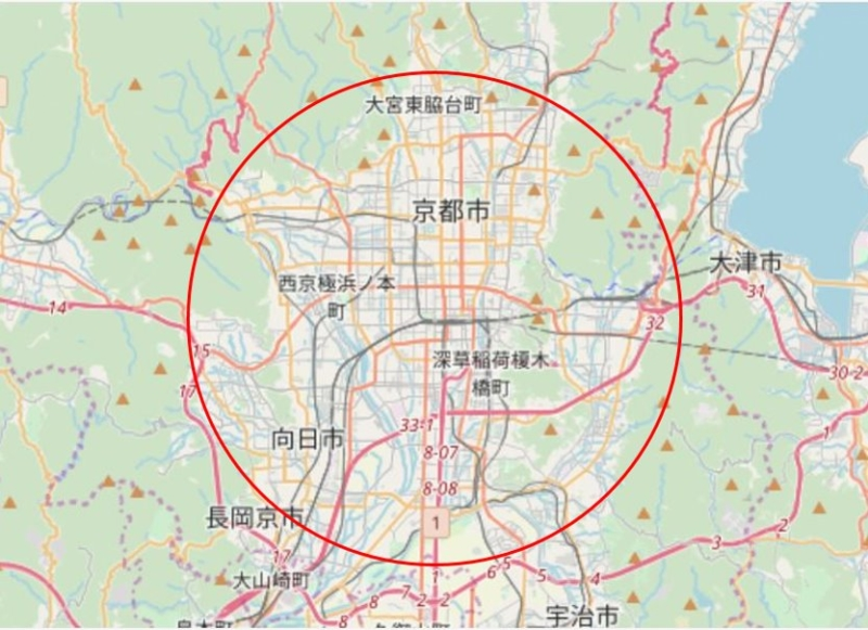 RTK-GNSS基準局のサービス範囲